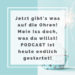 Jetzt gibt's was auf die Ohren! Mein Iss doch, was du willst! Podcast ist heute endlich gestartet!